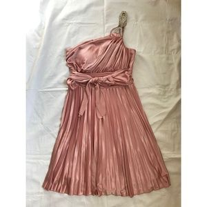 Blush Pink Pleated One Shoulder Dress